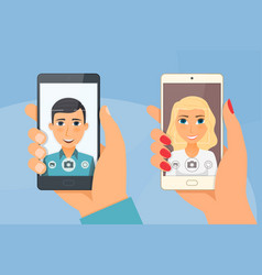 pretty girl and young boy takes selfie using a vector image