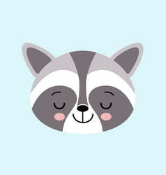 raccoon cute cartoon sleepeng animal icon vector image