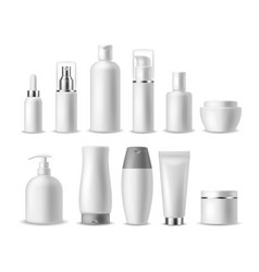 Realistic cosmetic package white blank cosmetics vector