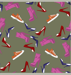 seamless pattern of shoes - running shoes vector image