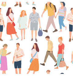 Seamless pattern with walking young people men vector