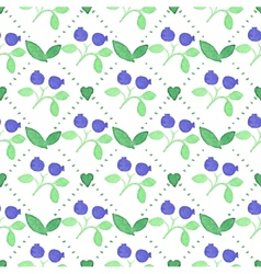 Seamless watercolor pattern with blueberries on vector