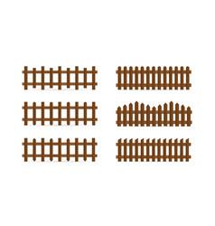 set different shapes rural wooden fences vector image