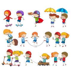 Set kids character activity vector