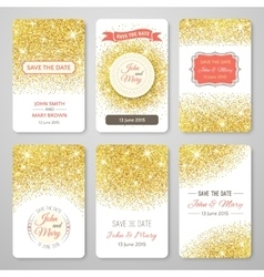 Set of perfect wedding templates with golden vector