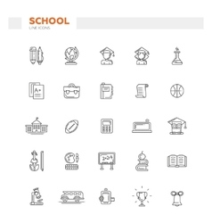 Set of school college line flat design icons and vector image