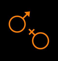 sex symbol sign orange icon on black background vector image