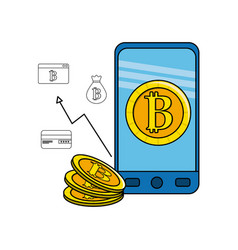 smartphone with bitcoin inside and icons outside vector image