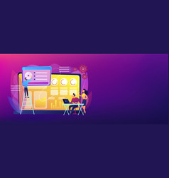 social media dashboard concept banner header vector image