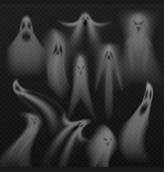 Spooky transparent halloween ghost isolated vector