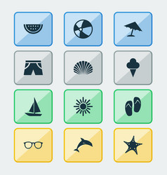 sun icons set collection of parasol sunny vector image