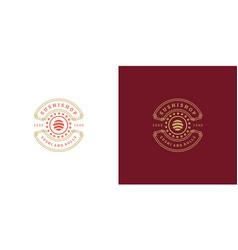 Sushi logo and badge japanese food restaurant vector
