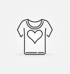 t-shirt with heart linear concept icon vector image