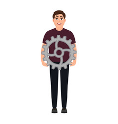 The guy holds the gear and cogwheel a cheerful vector