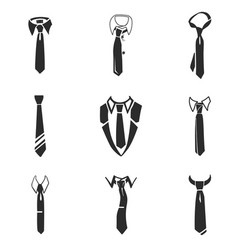 tie icon set simple style vector image