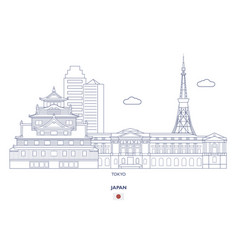 Tokyo linear city skyline vector