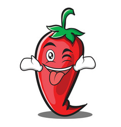 tongue out with wink red chili character cartoon vector image