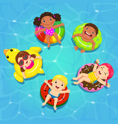 top view of kids floating on inflatable vector image