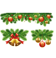 Traditional christmas decorations and garlands vector