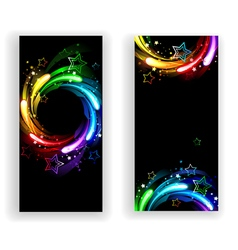 Two Banners with Rainbow Stars vector