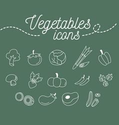 Vegetables icons set design on green background vector