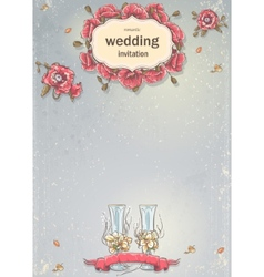wedding invitation with a picture wedding vector image