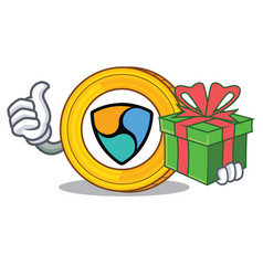 with gift nem coin character cartoon vector image