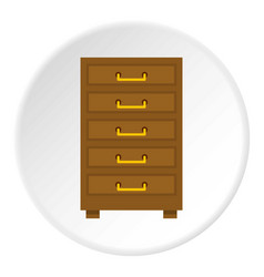 Wooden cabinet with drawers icon circle vector