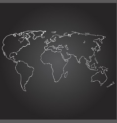 world map contour on vector image