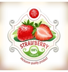 a strawberry with leaves vector image