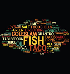 best recipes baja fish tacos text background word vector image vector image