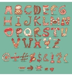Children Monster Party Birthday Cartoon Type Fonts vector image