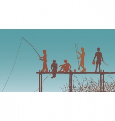 fishing friends vector image vector image