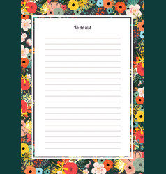 flowers poster template to do list vector image