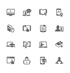 Simple online education icons vector