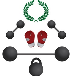 weights and boxer gloves fourth variant vector image