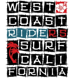 West coast surf riders vector image