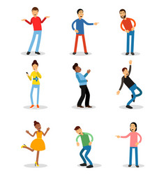 young men and women having fun and smiling set vector image