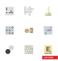 flat icon games set of gomoku sea fight xo and vector image vector image