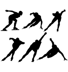 Ice Speed Skating Silhouette vector image vector image