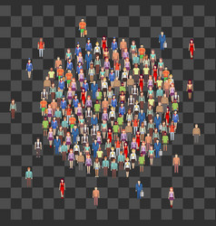 large people crowd in circle shape society vector image vector image