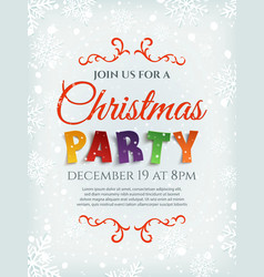 Christmas party poster template with snow and vector image vector image