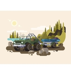 Jeep SUV with boat vector image vector image