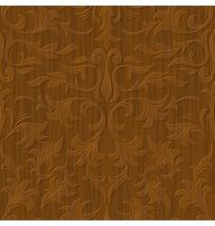 seamless abstract wood carved floral ornament vector image vector image