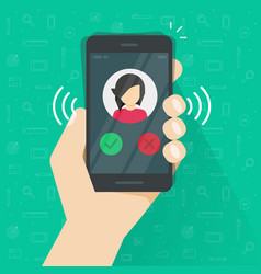 smartphone or mobile phone ringing or calling vector image