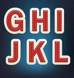 Stitched fabric font g-l vector