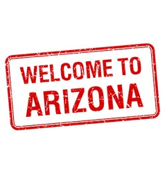 welcome to Arizona red grunge square stamp vector image vector image