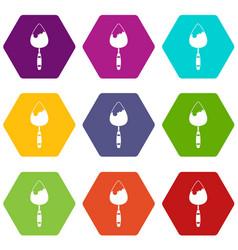 construction trowel icon set color hexahedron vector image vector image