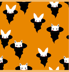 halloween background - white rabbit and cat in vector image