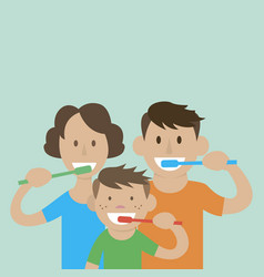 mom dad son to brush their teeth vector image vector image